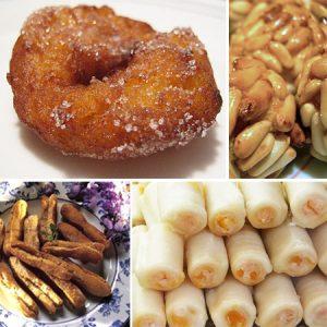Dulces típicos día de Todos los Santos: Buñuelos de viento, huesos de santo, boniatos y panellets